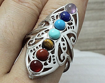 7 Chakra Healing Crystal Quartz Stone Gemstone Butterfly Finger Ring Jewelry (S14J5-02)