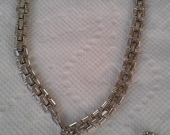 Bogoff 1950s necklace with clear faceted baguettes rhinestones mounted on rhodium plated silver. SHMRJEWEL_1