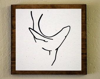 Sea Lion Minimalist Animal Art -Original Drawing on Wood