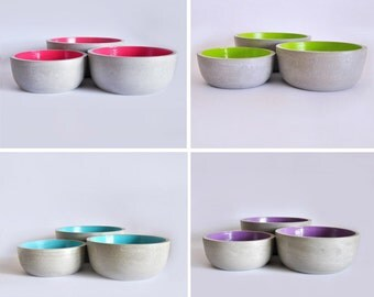 Set of 3 hand-painted cement bowls