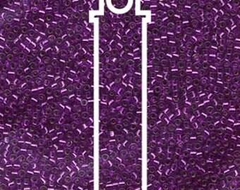 Delica Miyuki Beads, S/L Bright Violet Dyed, Tube Bead, Peyote, Loom, Brick Stich, Bead Embroidery, 7.2 Grams, Uniform Quality Bead, #DB1345