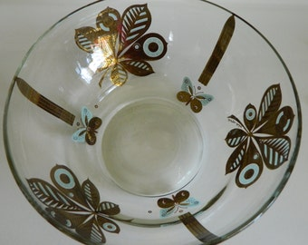 Georges Briard large butterfly and leaf serving bowl