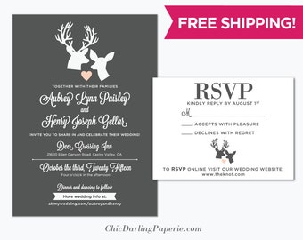 Printable Rustic Wedding Invitation, Deer Wedding Invitation