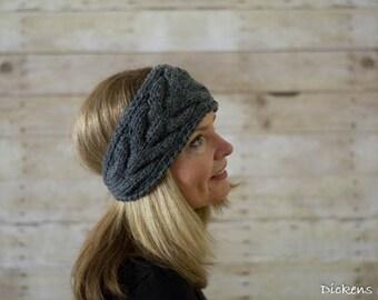 Cable Knit Headband, Knit Headband, Ear Warmer, Gray, Grey  - Ready to Ship