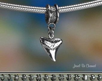 Sterling Silver Shark Tooth Charm or European Style Charm Bracelet