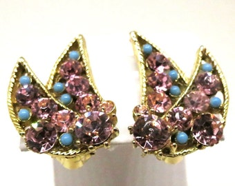 Pink and Blue Earrings - Vintage, BSK Signed, Pink Rhinestones and Blue Beading, Clip-on Earrings