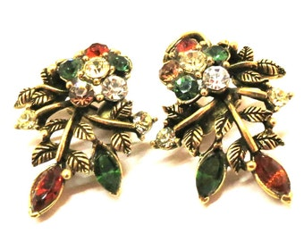 Rhinestone Earrings - Vintage, Gold Tone, Multi-Colored Rhinestones, Coro Signed, Clip-on Earrings