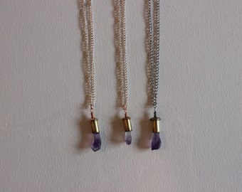 Mini Amethyst Bullet Necklace