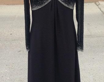 Vintage Cassandra Stone black and silver beaded dress size 10