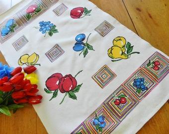 Tea Towel, Fruit Towel, Red Towel, Blue Towel, Vintage Towel, Startex Mills Towel, Startex Mills, Apple Towel, Blueberry Towel
