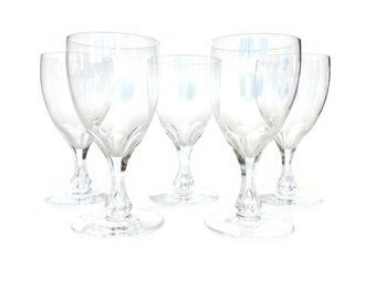 Orrefors Coronation White Wine Glasses, Set of Five, Swedish Glass, Bubble Stem