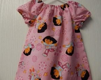 SALE***ready to ship - dora the explorer peasant dress for girls****dora girls dress