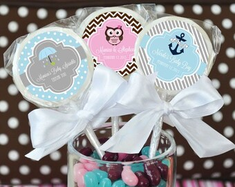 Custom Baby Shower Favors-Personalized Lollipop Favors-1st Birthday Party Favors-Unique Party Favors (set of 24)