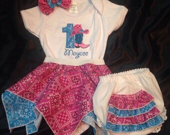 Cowgirl Birthday Handkerchief Skirt with Appliquéd Onsie or T-shirt and Ruffle Bum Bloomer. (Free hair accessory)
