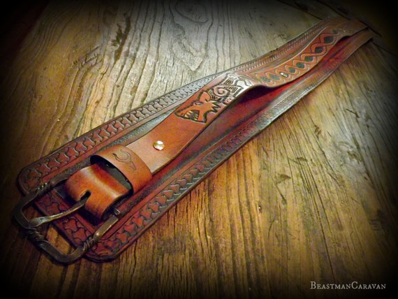 Custom Viking Leather Warrior Belt / Kidney Belt / Utility Belt