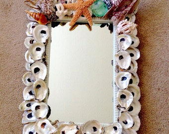 Shell Mirror / Oyster Shell Art / Hanging Oyster Shell Mirror
