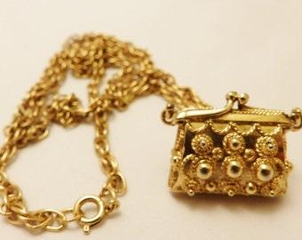 Vintage Gold Tone Long Length Vintage Purse Pendant Necklace