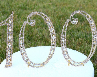 """New 5"""" Gold Crystal Bling Rhinestone NUMBER 100 One Hundred Cake Topper 100th Birthday Partiy Free US Shipping CT998"""