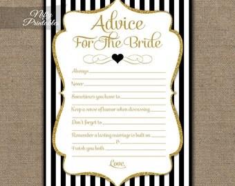 Bridal Shower Advice Cards - Black & Gold Bridal Shower Games - Instant Download - Printable Black White Striped Bridal Advice Card - BGL