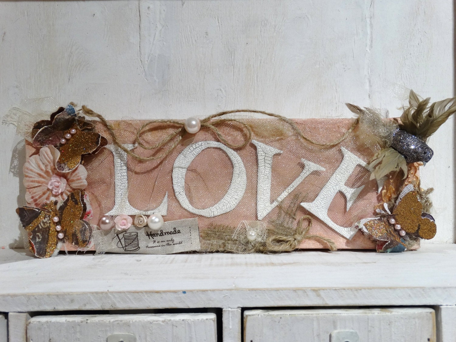 Wall Art Canvas Shabby Chic : Love decorative canvas shabby chic wall art home decor