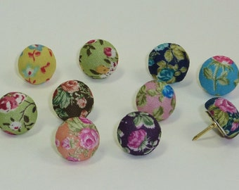Decorative Push Pins, Fabric Drawing Pins, Vintage Rose Drawing Pins, Thumbtacks, Cork Board Pins, Wedding Favours, Pretty Drawing Pins