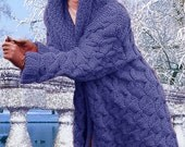 Hand Knit women's hooded coat aran women's jacket women hand knitted dress sweater cardigan pullover women's clothing handmade wool cashmere