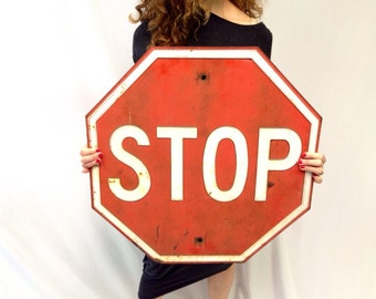 Stop Sign/ 1940s/ Signage/ Retired Road Sign/ Automobilia/ Red and White/ Man Cave/ Teen Bedroom Decor/ Game Room Decor