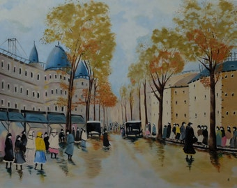 Original Painting: 1920s Street in Budapest by Annemiek Bátorfi 100x80 cm