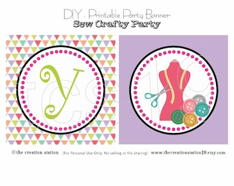 PRINTABLE Party Banner - Sew Crafty Party - Instant Download