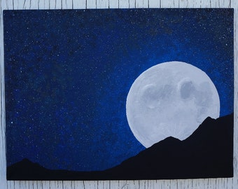 Full Moon Night Sky Painting, Moon and Stars Painting, Starry Night Sky Painting Full Moon Rising Over Mountain Painting Mountian Silhouette