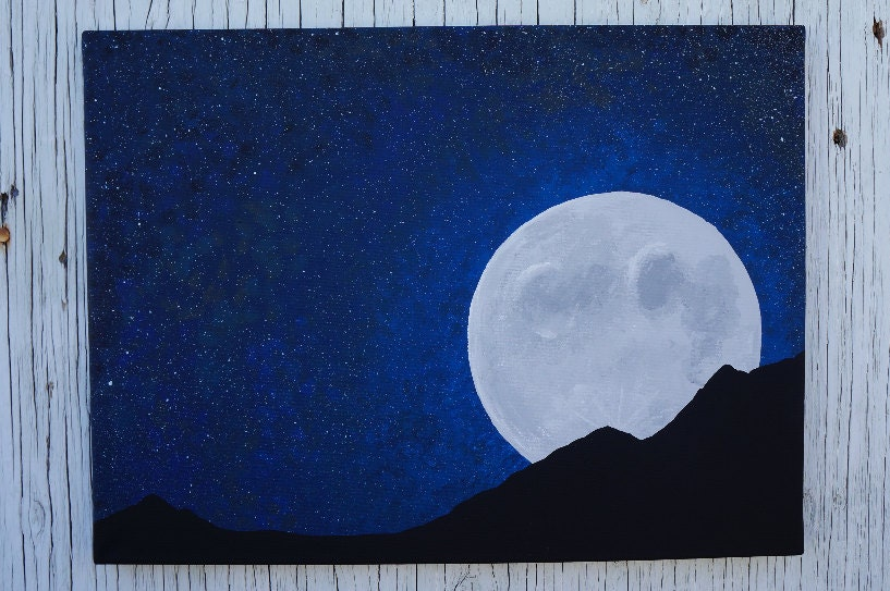 Full Moon Night Sky Painting Moon and Stars Painting Starry