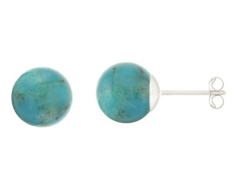 925 Sterling Silver Natural 6mm Round / Ball Turquoise Gemstones Stud Earrings