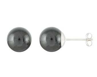 925 Sterling Silver Natural 6mm Round / Ball Hematite Gemstones Stud Earrings