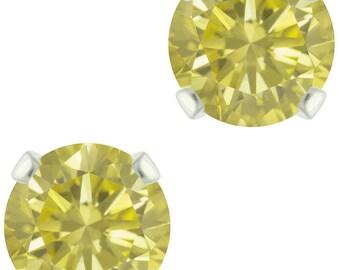 925 Sterling Silver Natural 6mm Diamond Cut Lemon Quartz Gemstones Stud Earrings