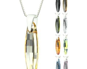 925 Sterling Silver Faceted Ellipse Swarovski Crystal Pendant Necklace