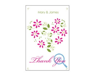 Flower Heart Thank You Postcard (wedding and personal)