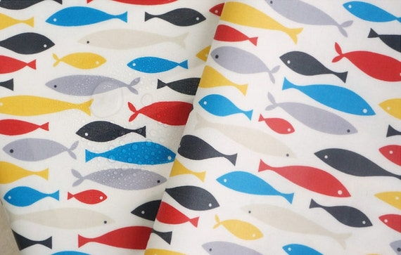 Laminated cotton fabric fish by the yard from fabricbonita for Fish fabric by the yard