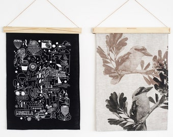 The Art Hanger - display your textiles, tea towels, weaves and prints - Sustainable - Plywood design by One Two Tree