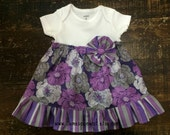 Infant Girls Purple and Gray Flower Dress, Bodysuit Dress, Purple and Gray Dress, STL Baby, Purple and Gray Baby, Newborn to 24 months