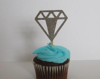 Diamond party, royal party, Diamond cupcake topper , diamond cake topper, engagement cupcake toppers decor, cupcake topper,  6pcs