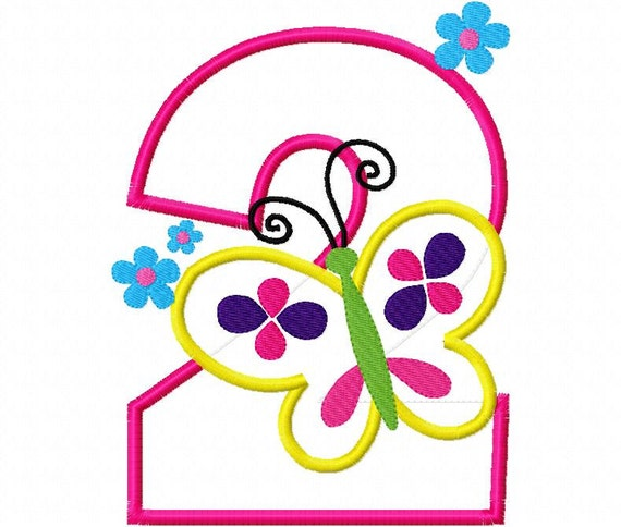 Birthday Butterfly 2 Second  Design Applique Machine Embroidery Design 4x4 and 5x7