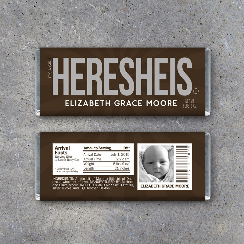 Personalized Birth Announcement Candy Bar Wrappers Printable – Birth Announcement Candy