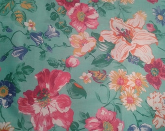 gorgeous vintage French cotton fabric floral lovely over four yards!