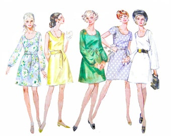 60s Butterick 5245 Scoop Neckline, A-line Dress with Blouson Bodice with Sleeve Style and Length Variations Sewing Pattern Size 10