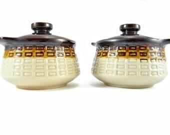 Vintage Northland Stoneware Pair of Single Serve Lidded Crock Pots / Soup Pots / Casserole Pots