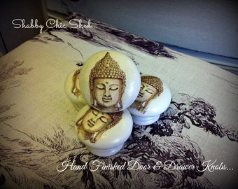 Wood Drawer Knobs Pulls Painted Door Handles Hand Crafted Buddha