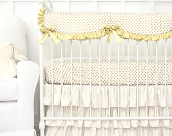 Gold Dot Sparkle Bumperless Crib Bedding | 2 or 3pc Bedding Set for your Gold and White Nursery