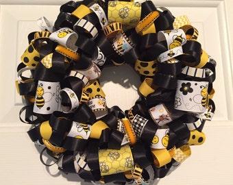 Handmade MINI Black and Yellow Buzzing Bees Ribbon Wreath