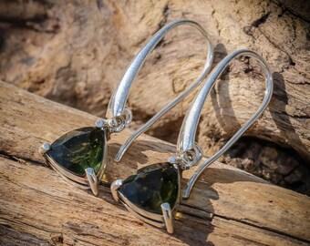 AMBRA Moldavite EARRINGS Czech Mineral Minerals Silver Moldavit Green Gem Vltavin Vltaviny Faceted Trillion Jewelry Jewellery Meteorite