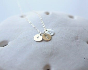 Multiple Initial Stamped Necklace, Sterling Silver